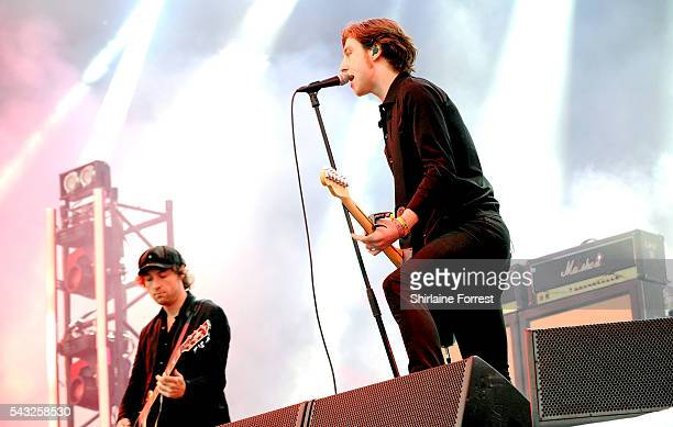 Van McCann and Benji Blakeway of Catfish and the Bottlemen perform on The Other Stage at Glastonbury Festival 2016 at Worthy Farm Pilton on June 25...
