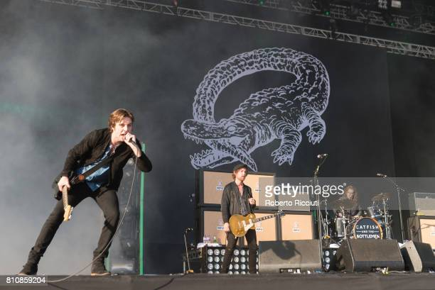 Van McCann Johnny Bond and Jon Barr of British rock band Catfish and the Bottlemen perform on stage during TRNSMT Festival Day 2 at Glasgow Green on...