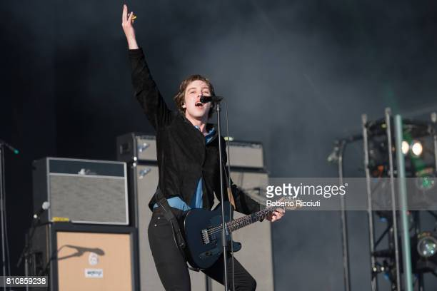 Van McCann of British rock band Catfish and the Bottlemen performs on stage during TRNSMT Festival Day 2 at Glasgow Green on July 8 2017 in Glasgow...