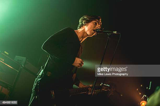 Van McCann of Catfish and the Bottlemen performs at Cardiff University on October 29 2015 in Cardiff Wales