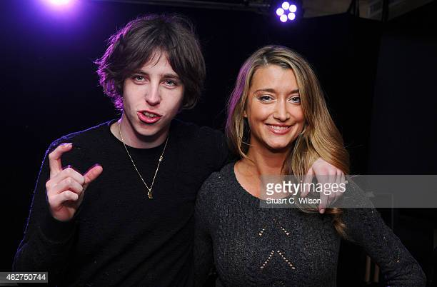 Van McCann of Catfish And The Bottlemen poses with Sarah Champion of Absolute Radio after performing during an Absolute Radio Session at Absolute...