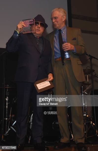 Van Morrison and Georgie Fame attend the Jazz FM Awards 2017 at Shoreditch Town Hall on April 25 2017 in London England
