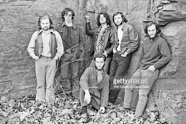 Van Morrison and his band pose for a portrait in April 1970 in Woodstock New York