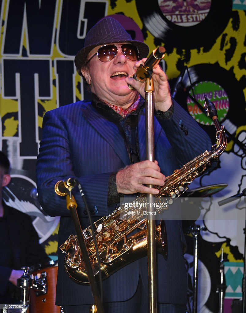 Van Morrison performs at 'Hoping's Greatest Hits', the 10th anniversary of The Hoping Foundation's fundraising event for Palestinian refugee children hosted by Bella Freud and Karma Nabulsi, at Ronnie Scott's on June 16, 2016 in London, England.