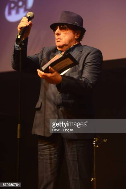 Van Morrison presents the award for the PPL Lifetime Achievement Award at the Jazz FM Awards 2017 at Shoreditch Town Hall on April 25 2017 in London...