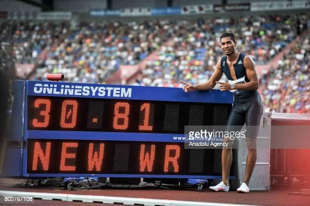 Van Niekerk Wayde gestures during the 300m. Men IAAF World challenge Zlata Tretra in Ostrava, Czech Republic on June 28, 2017.
