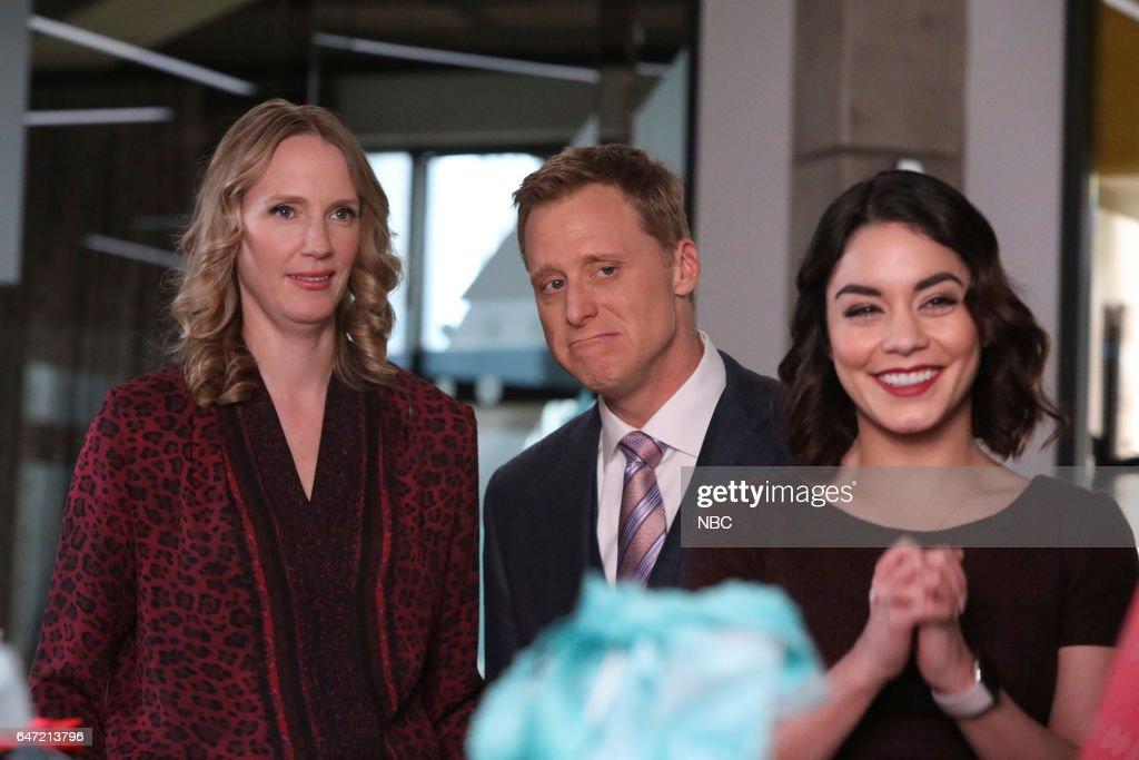 POWERLESS -- 'Van Of The Year' Episode 104 -- Pictured: (l-r) Christina Kirk as Jackie, Alan Tudyk as Van, Vanessa Hudgens as Emily --