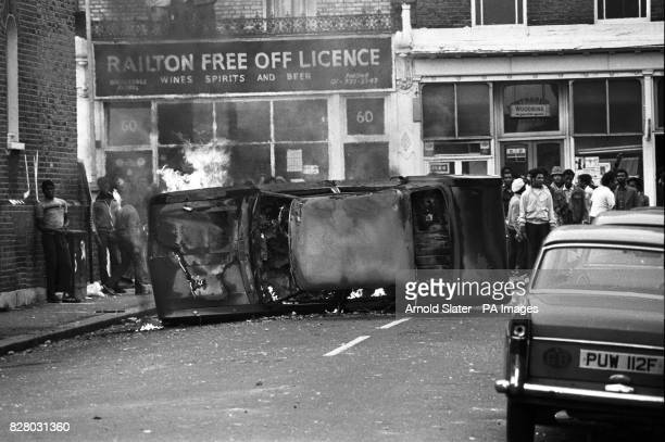 A van on fire during the riot in Brixton South London when there were renewed clashes between police and rioters