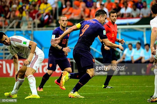 Van Persie and Sneijder from Netherlands and Sergio Busquets from Spain in the match of the 2014 World Cup in Salvador Brasil