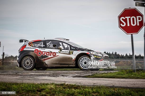 Van Rompuy and Feys in the Ford Focus R5 in action during the 42e Rallye Du Condroz-Huy in Huy, Belgium on November 8, 2015.