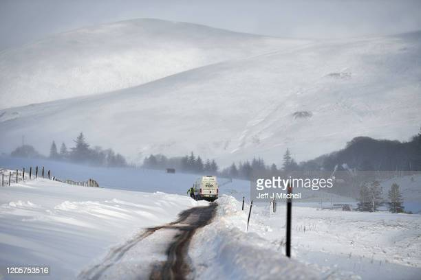 A van struggles in drifting snow on the B797 on February 12 2020 on Wanlockhead Scotland A yellow warning for snow and ice remains in place across...