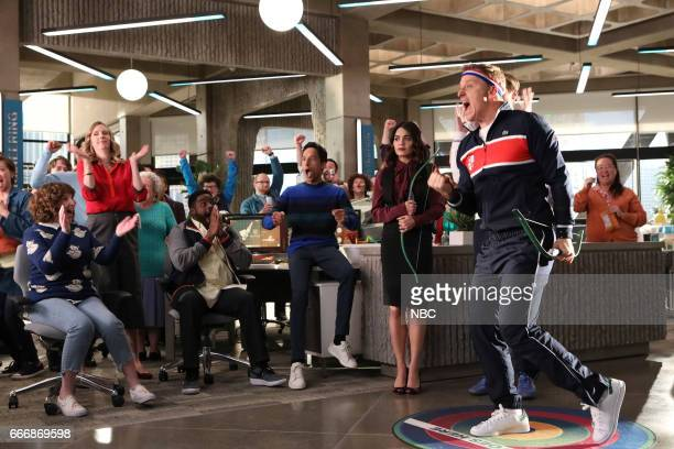 POWERLESS 'Van V Emily Dawn Of Justice' Episode 110 Pictured Jennie Pierson as Wendy Christina Kirk as Jackie Ron Funches as Ron Danny Pudi as Teddy...