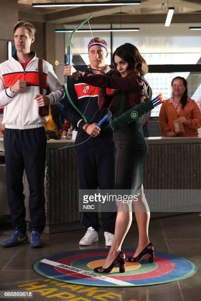 POWERLESS 'Van V Emily Dawn Of Justice' Episode 110 Pictured Josh Breeding as Steve Alan Tudyk as Van Vanessa Hudgens as Emily
