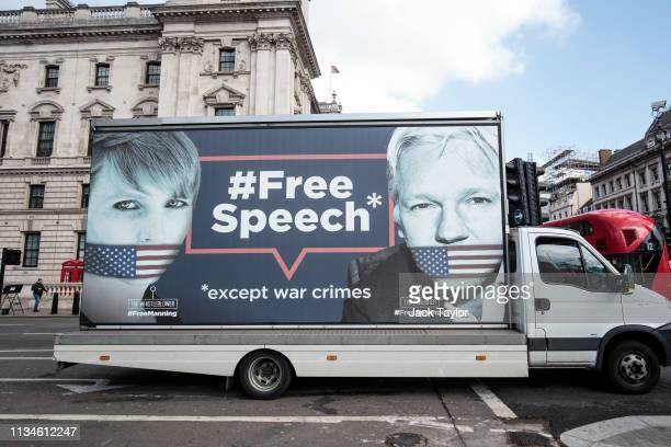 Van with a billboard in support of American whistleblower Chelsea Manning and Wikileaks founder Julian Assange is driven around Westminster on April...