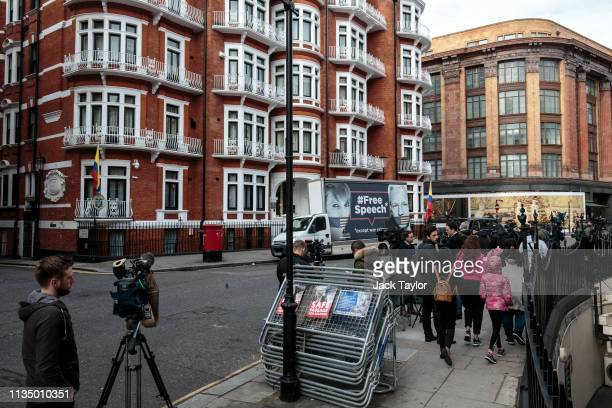 Van with a billboard in support of American whistleblower Chelsea Manning and Wikileaks founder Julian Assange is parked outside the Ecuadorian...