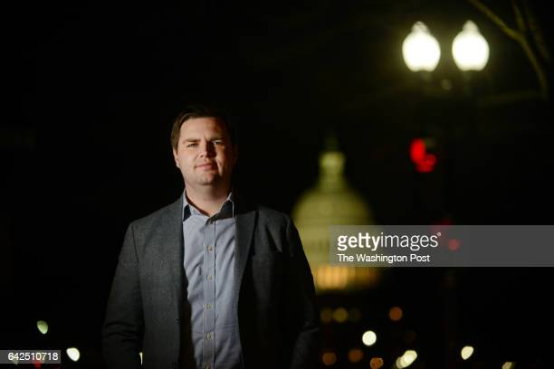 D Vance author of the book 'Hillbilly Elegy' poses for a portrait photograph near the US Capitol building in Washington DC January 27 2017 Vance has...