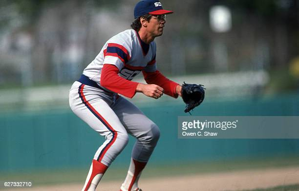 Vance Law of the Chicago White Sox circa 1983 playing third base against the Baltimore Orioles at Memorial Stadium in Baltimore Maryland