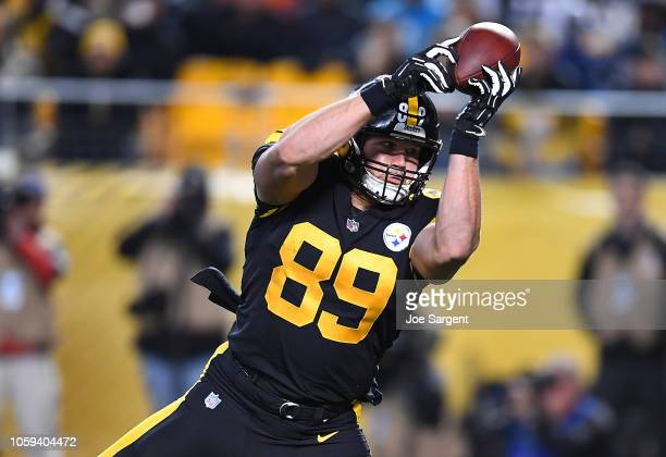 Vance McDonald of the Pittsburgh Steelers makes a catch for a 12 yard touchdown reception during the third quarter in the game against the Carolina...