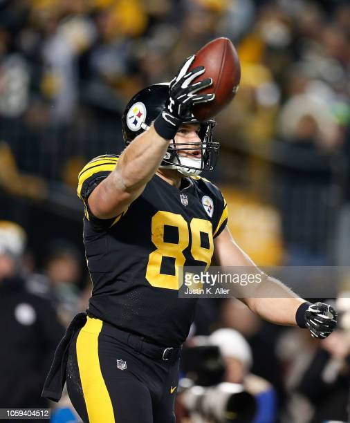 Vance McDonald of the Pittsburgh Steelers reacts after a 12 yard touchdown reception during the third quarter in the game against the Carolina...