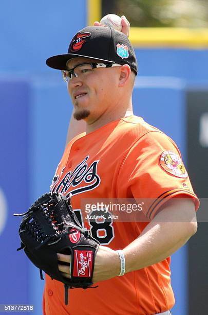 Vance Worley of the Baltimore Orioles warms up before the game against the Toronto Blue Jays at Florida Auto Exchange Stadium on March 4 2016 in...