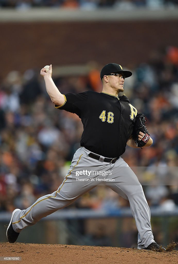 Vance Worley #46 of the Pittsburgh Pirates pitches against the San Francisco Giants in the bottom of the third inning at AT&T Park on July 28, 2014 in San Francisco, California.