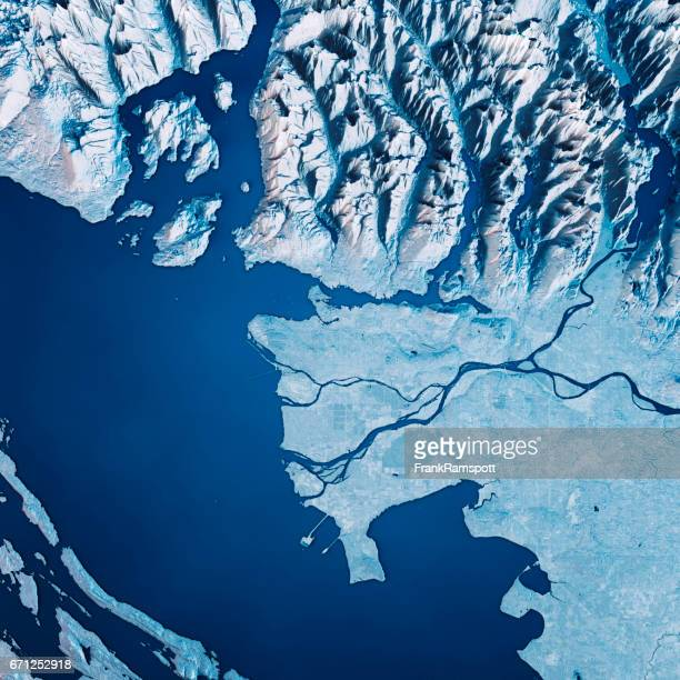Vancouver 3D Render Satellite View Topographic Map Blue