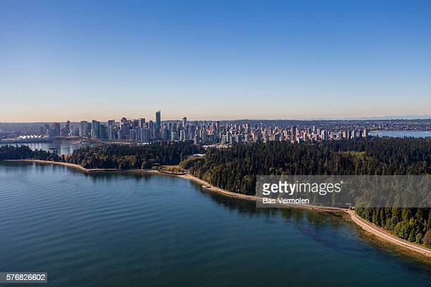 vancouver aerial - stanley park stock photos and pictures