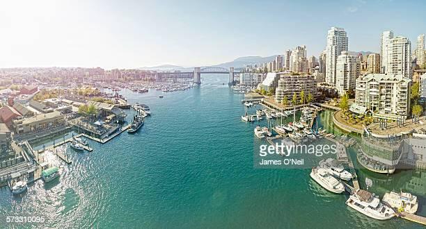 vancouver bay panoramic - bucht stock-fotos und bilder