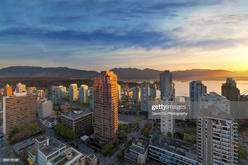 Vancouver BC Cityscape at Sunset : Stock Photo