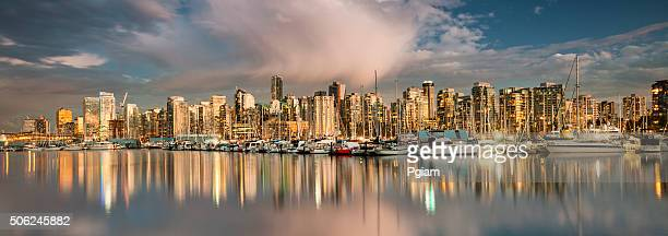 vancouver bc panoramic cityscape - vancouver canada stock photos and pictures