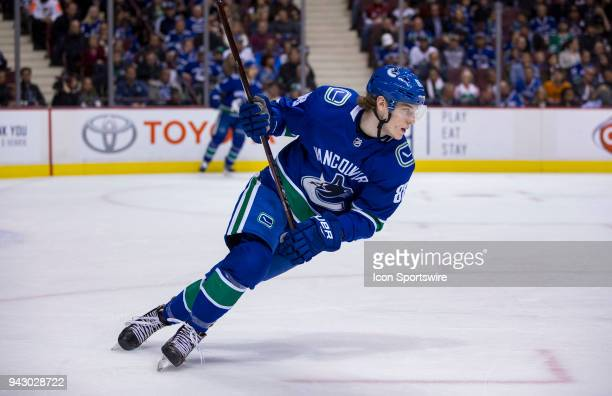 Vancouver Canucks Center Adam Gaudette skates against the Arizona Coyotes during the first period in a NHL hockey game on April 05 at Rogers Arena in...