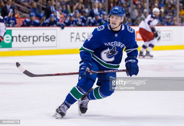 VANCOUVER BC MARCH 31 Vancouver Canucks Center Adam Gaudette skates against the Columbus Blue Jackets during the second period in a NHL hockey game...