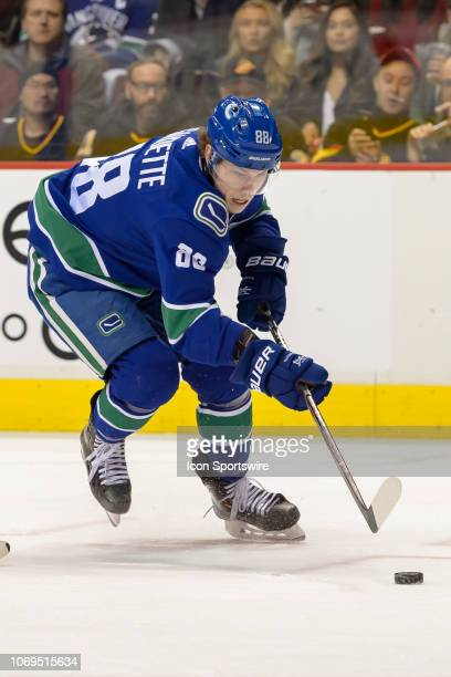Vancouver Canucks Center Adam Gaudette skates with the puck during their NHL game against the Nashville Predators at Rogers Arena on December 6, 2018...