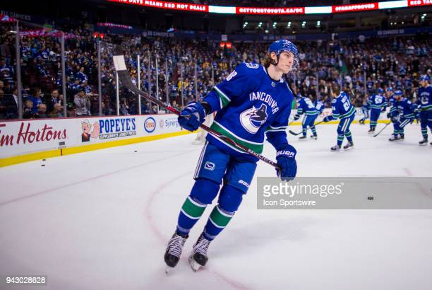 Vancouver Canucks Center Adam Gaudette warms up prior to the start of a NHL hockey game against the Arizona Coyotes on April 05 at Rogers Arena in...