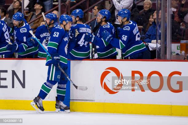 Vancouver Canucks center Bo Horvat celebrates his first period goal against the Los Angeles Kings in a NHL hockey game on September 20 at Rogers...