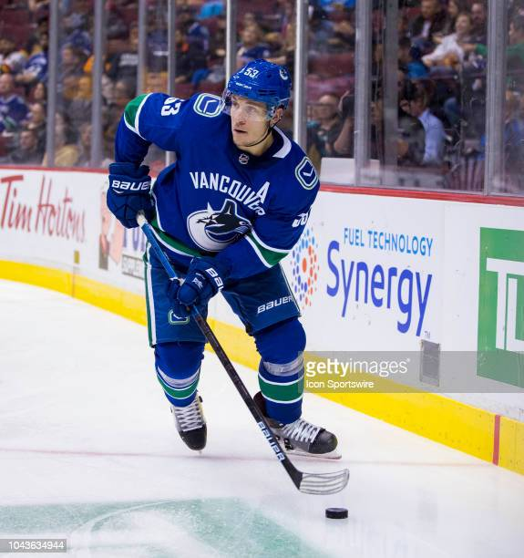 Vancouver Canucks center Bo Horvat skates against the Los Angeles Kings in a NHL hockey game on September 20 at Rogers Arena in Vancouver BC