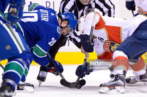 Vancouver Canucks Center Brandon Sutter faces off against Florida Panthers Center Vincent Trocheck during their NHL game at Rogers Arena on February...