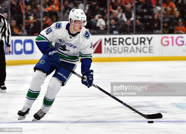 Vancouver Canucks center Elias Pettersson with the puck in the second period of a game against the Anaheim Ducks played on November 21 2018 at the...