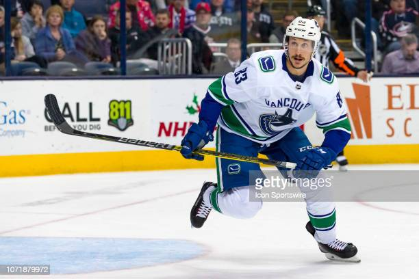 Vancouver Canucks center Jay Beagle skates the ice in a game between the Columbus Blue Jackets and the Vancouver Canucks on December 11 2018 at...