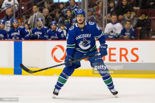 Vancouver Canucks Center Jay Beagle skates up ice during their NHL game against the Nashville Predators at Rogers Arena on December 6, 2018 in...