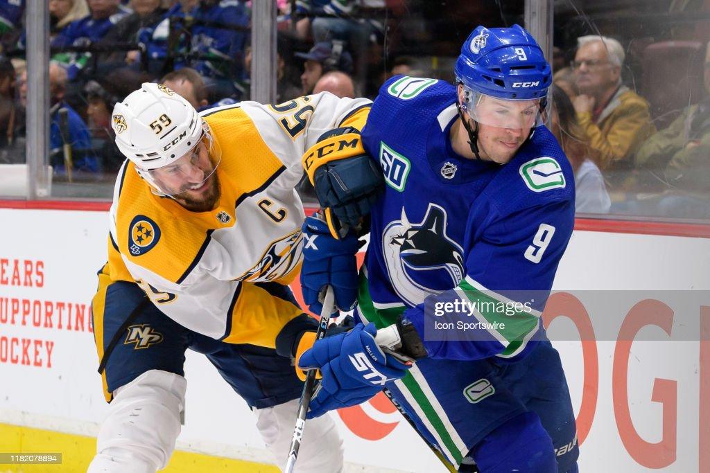 NHL: NOV 12 Predators at Canucks : News Photo