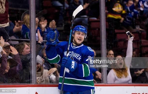 Vancouver Canucks Center Reid Boucher celebrates his second period goal against the NewYork Islanders during a NHL hockey game on March 09 at Rogers...