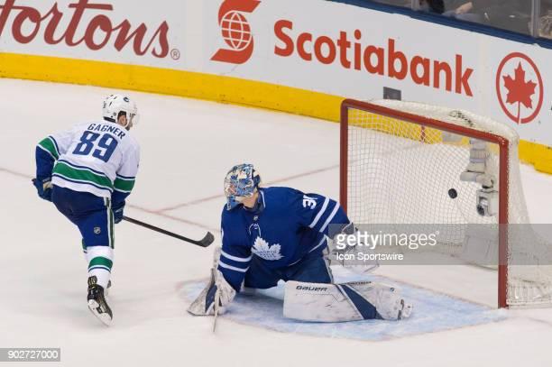 Vancouver Canucks Center Sam Gagner scores on Toronto Maple Leafs Goalie Frederik Andersen during the regular season NHL game between the Vancouver...