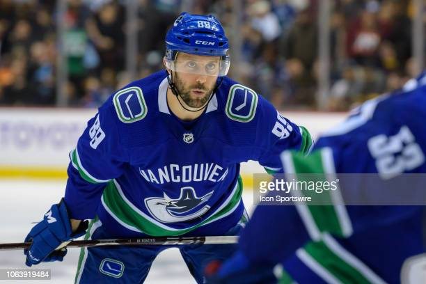 Vancouver Canucks center Sam Gagner waits for a face-off during their NHL game against the Winnipeg Jets at Rogers Arena on November 19, 2018 in...
