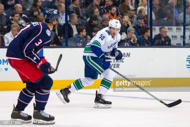 Vancouver Canucks center Tim Schaller skates the ice in a game between the Columbus Blue Jackets and the Vancouver Canucks on December 11 2018 at...