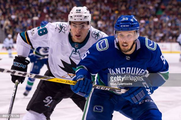 Vancouver Canucks Defenceman Alex Biega is pursued by San Jose Sharks Left Wing Timo Meier during their NHL game at Rogers Arena on December 15 2017...