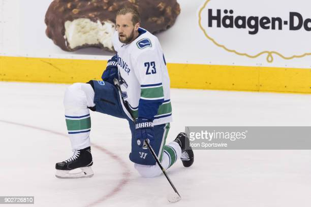 Vancouver Canucks Defenceman Alexander Edler before the regular season NHL game between the Vancouver Canucks and the Toronto Maple Leafs on January...