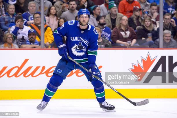 Vancouver Canucks Defenceman Alexander Edler watches the play during their NHL game against the Florida Panthers at Rogers Arena on February 14 2018...