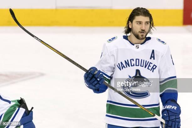 Vancouver Canucks Defenceman Chris Tanev during warmup before the regular season NHL game between the Vancouver Canucks and the Toronto Maple Leafs...