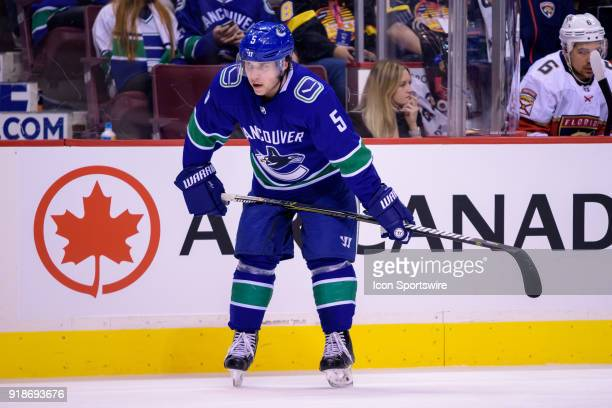 Vancouver Canucks Defenceman Derrick Pouliot waits for a faceoff during their NHL game against the Florida Panthers at Rogers Arena on February 14...